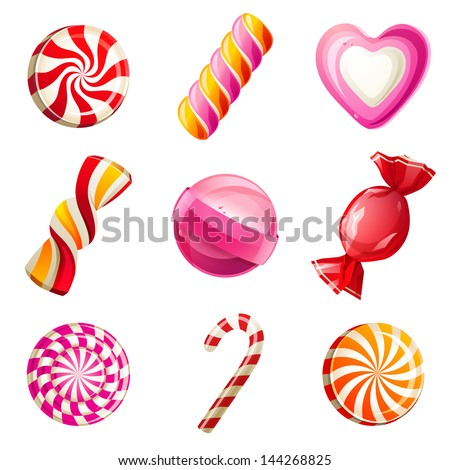 Sweets and candies icons set - stock vector