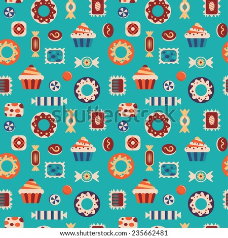 Sweets and candies seamless pattern. - stock vector