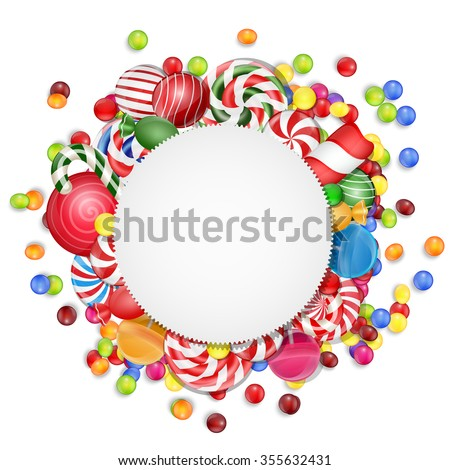 Sweets background with frame candies.vector - stock vector