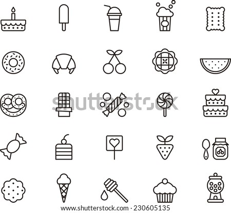 Sweets & Candy icon set - stock vector