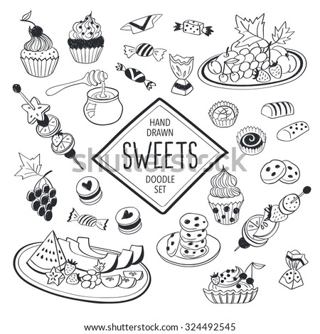 Sweets doodle set. Hand drawn food icons isolated on white background. Doodle fruits, cookies and candies collection. Handdrawn elements for cafe and restaurant menu design. - stock vector