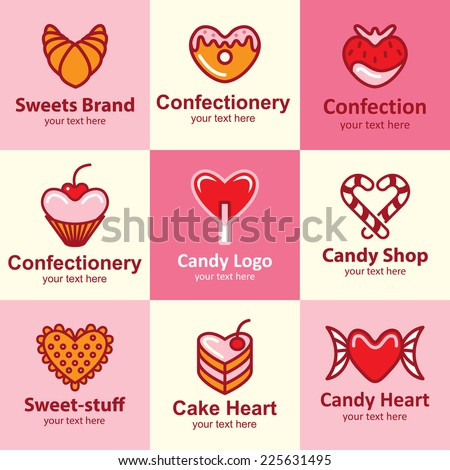 Sweets flat icons set logo ideas for brand - stock vector
