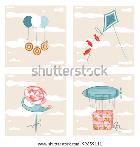 Sweets Flight Set 2. EPS8 vector illustration. Well organized. - stock vector