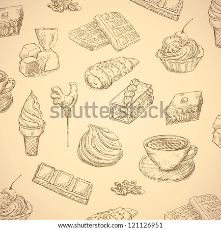 sweets hand drawn food set vector - stock vector