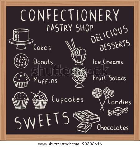 Sweets menu board - stock vector