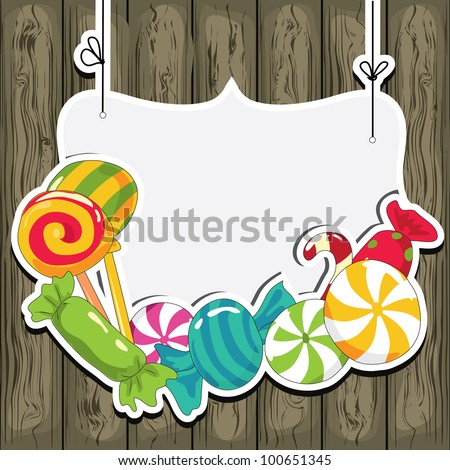 Sweets on strings on the wooden background. Vector illustration. - stock vector