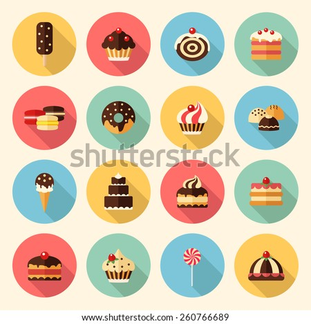 sweets, pastry, chocolate, cake, cupcake, ice cream, macaroon, donut, lollipop. flat design icons set. template elements for web and mobile applications - stock vector