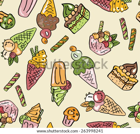 Sweets seamless pattern. Doodle food design. Cute childish background. Endless vector illustration - stock vector