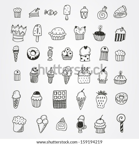 Sweets set - stock vector