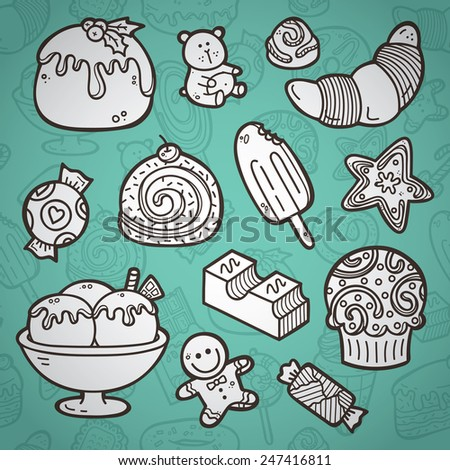 Sweets set. Second part of vector doodle collection of hand drawn sweets icons with outline seamless pattern on background - stock vector