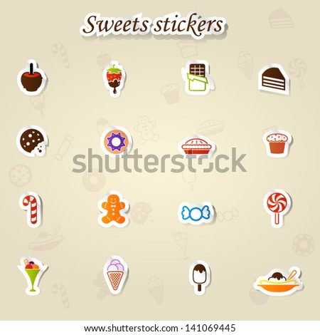 Sweets stickers icon set - stock vector