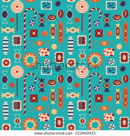 Sweets vector seamless pattern.
