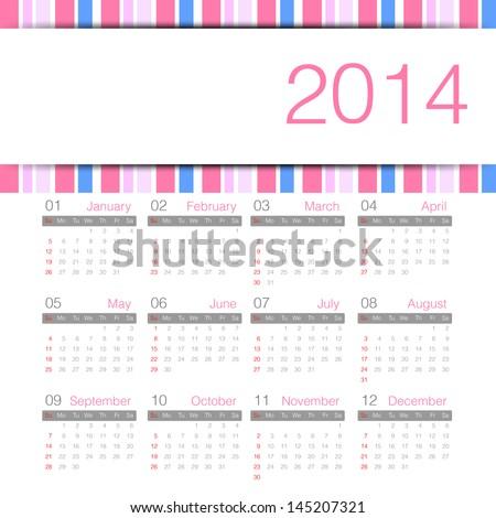 sweety minimal calender 2014 year - stock vector