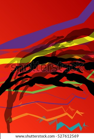 Swimmers diving and swimming in water sport pool silhouettes vector abstract background illustration