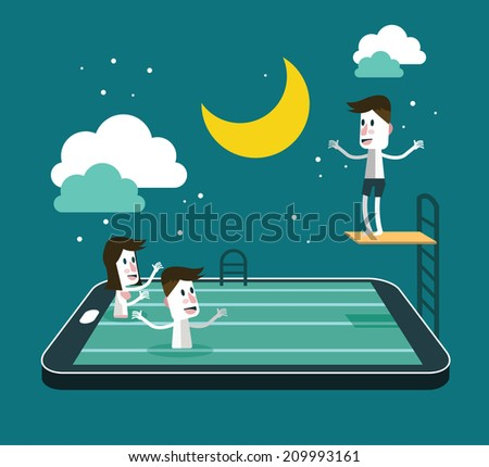 Swimming and Jumping in smart device pool. social network and relaxing abstract concept. flat design vector illustration - stock vector