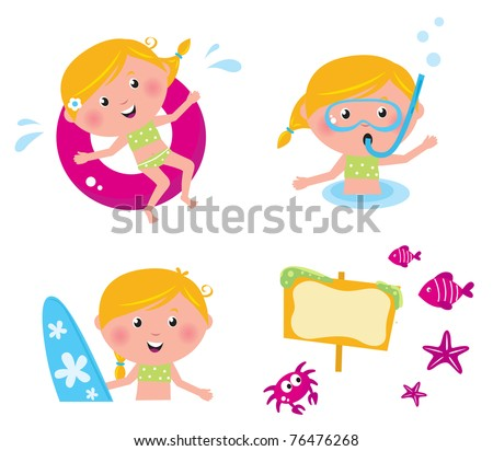 Swimming and mare icon set - vector collection of summer icons - stock vector