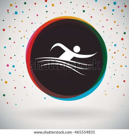 Swimming - Colorful icon and sports background