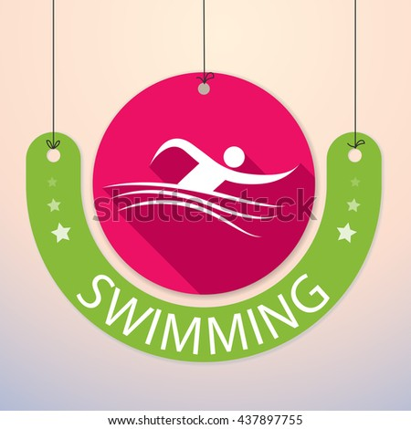 Swimming - Colorful Paper Tag for Sports - stock vector