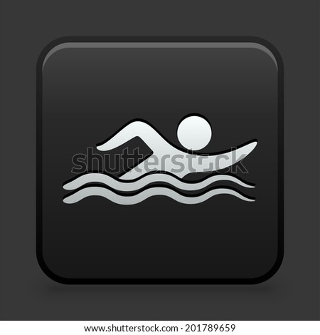 Swimming Icon on Black and White Button