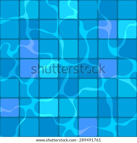 Swimming pool background with blue mosaic pattern and water reflection