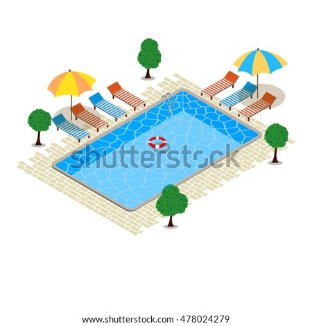 Swimming pool, Isometric concept design. Rest time. Vector design illustration