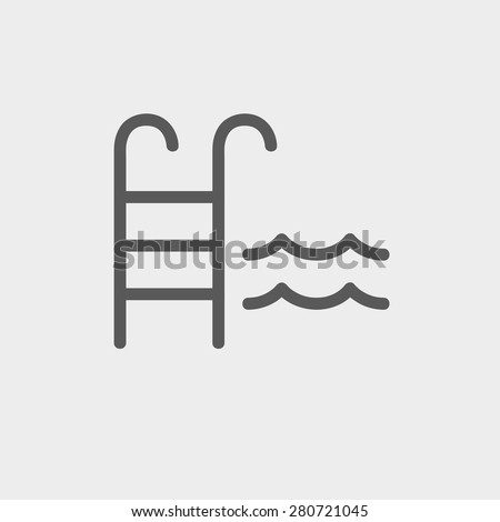 Swimming pool ladder icon thin line for web and mobile, modern minimalistic flat design. Vector dark grey icon on light grey background. - stock vector