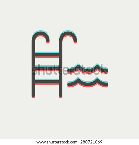Swimming pool ladder icon thin line for web and mobile, modern minimalistic flat design. Vector icon with dark grey outline and offset colour on light grey background. - stock vector