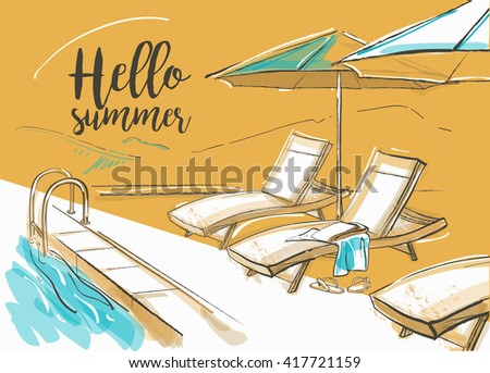Swimming pool of luxury hotel with umbrellas and chairs. Summer day - stock vector