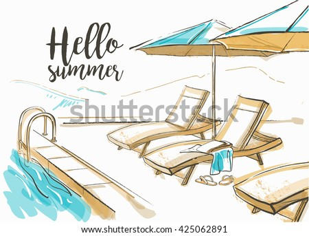Patio umbrella stock images royalty free images vectors for Swimming pool sketch