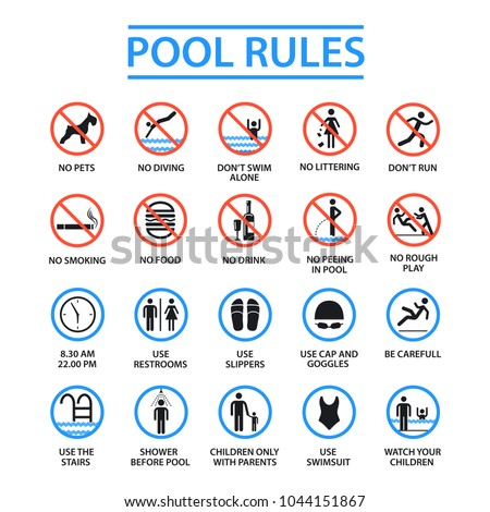 Swimming Pool Rules Public Private Pools Stock Vector 1044151867 Shutterstock