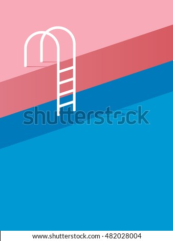 Swimming pool ladder steps vintage retro stock vector for Pool design graphic