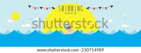 Swimming (Recreation) - stock vector
