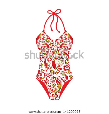 Swimsuit made ??from a beautiful floral pattern. - stock vector