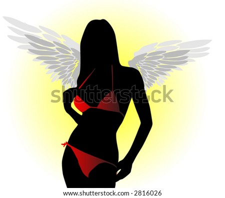 Swimsuit Model with Wings - stock vector