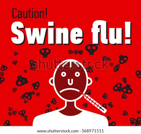 Swine flu caution banner in linear style - stock vector