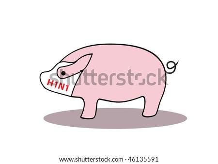 Swine flu h1n1 sign: pig with mask, vector illustration - stock vector