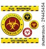 Swine flu pandemic outbreak warning tape, badge, labels and sticker with biohazard symbol - stock photo