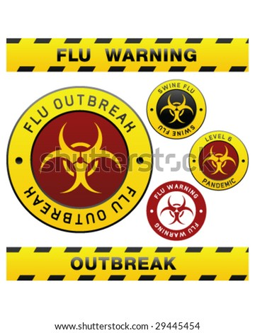 Swine flu pandemic outbreak warning tape, badge, labels and sticker with biohazard symbol - stock vector
