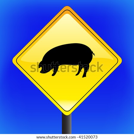 Swine flu with ping icon, ah1n1, h1n1, warning sign with blue sky in background - vector file - part 3 - stock vector