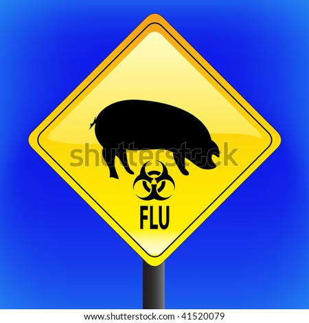 Swine flu with ping icon, ah1n1, h1n1, warning sign with blue sky in background - vector file - part 4 - biohazard - stock vector