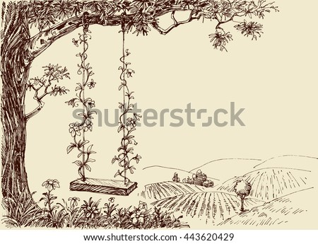 Swing drawing. A cute floral swing in the forest - stock vector