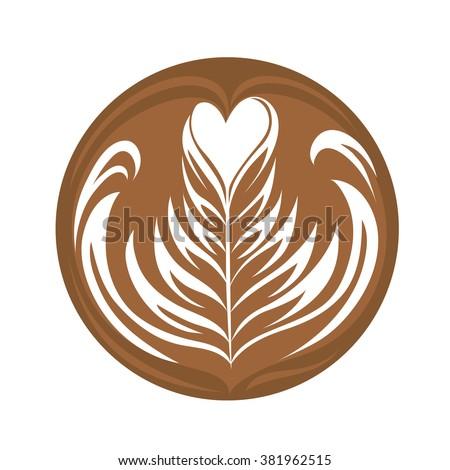 Swing Heart Rosetta Coffee Latte art Logo, Icon, Symbol - stock vector