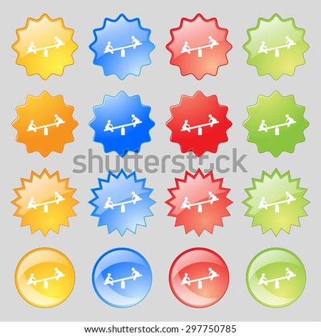 swing icon sign. Big set of 16 colorful modern buttons for your design. Vector illustration - stock vector