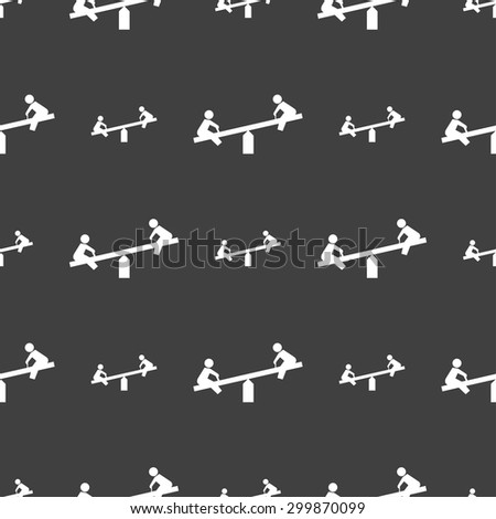 swing icon sign. Seamless pattern on a gray background. Vector illustration - stock vector
