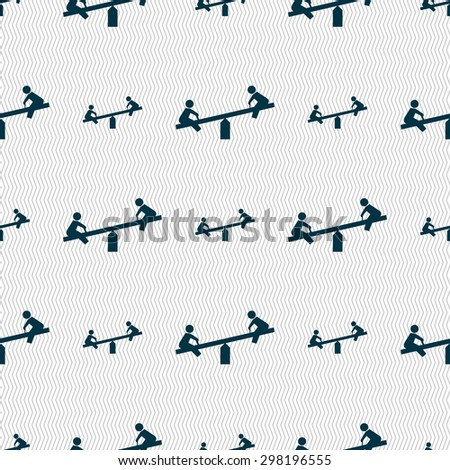 swing icon sign. Seamless pattern with geometric texture. Vector illustration - stock vector