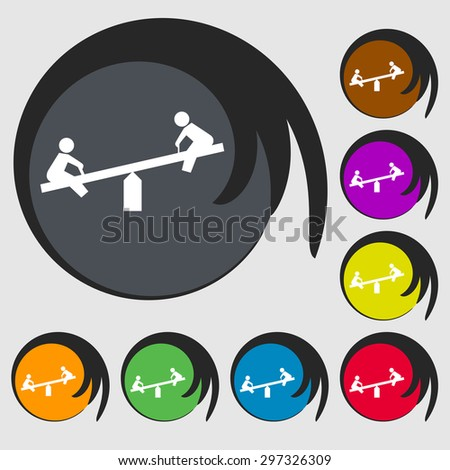 swing icon sign. Symbol on eight colored buttons. Vector illustration - stock vector