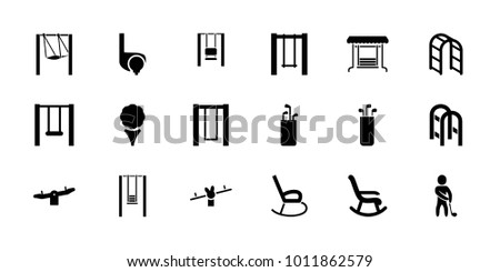 Swing icons. set of 18 editable filled swing icons: swing, golf, golf putter, rocking chair, playground ladder