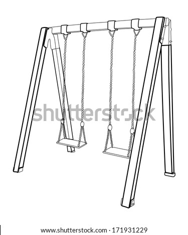 Swing in children's playground vector isolated on white background.  - stock vector