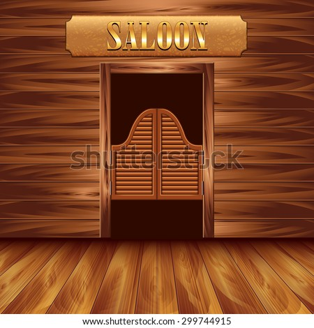 Swinging doors of saloon, western background vector  - stock vector