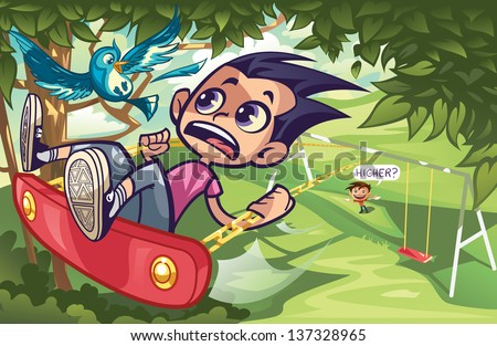Swinging into the Trees - stock vector